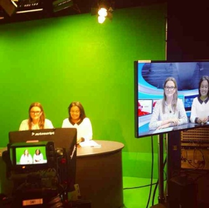 Presenting the first City News television programme of the academic year alongside fellow student, Rachel Bradley.