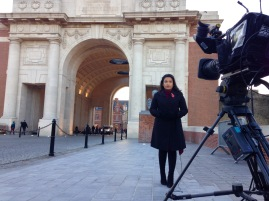 On location for lives in Ypres for ITV Regional News programmes.