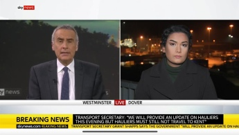 Live into the evening programme reporting on the developing situation in Dover with hauliers banned from entering Europe due to fears of UK Covid-19 variant.