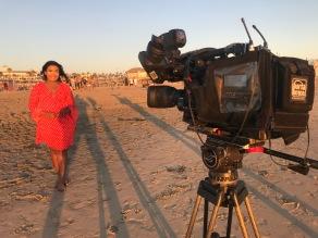 Live from Huntington Beach, LA into ITV Regional News programmes