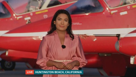 Ashna Hurynag reporting live from Huntington Beach in California on the Red Arrows North Amercian Tour for ITV News.
